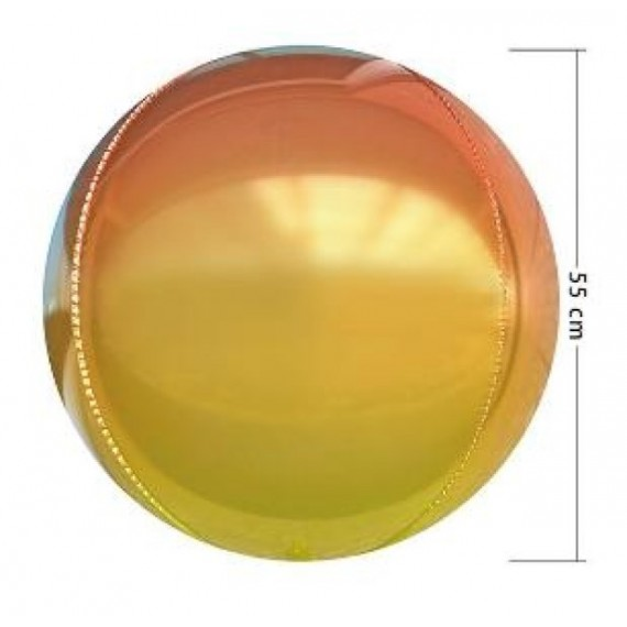 Globo 4D de 55 Centímetros de color Amarillo y Anaranjado