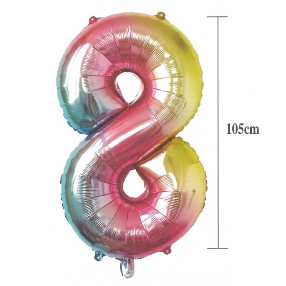 .Globo de Número 8 de 105 Centímetros Multicolor