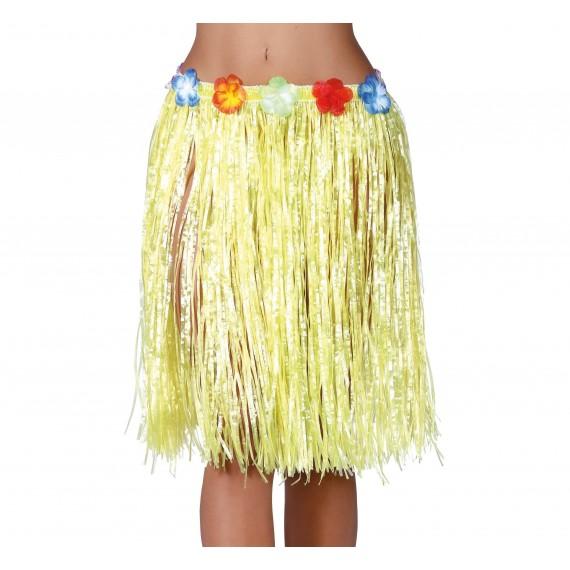 Falda Hawaiana de color Amarillo de 55 Centímetros para Adulto