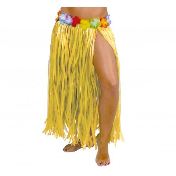 Falda Hawaiana de color Amarillo de 75 Centímetros para Adulto