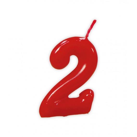 Vela de Cumpleaños Número 2 de 5,5 Centímetros de color Rojo