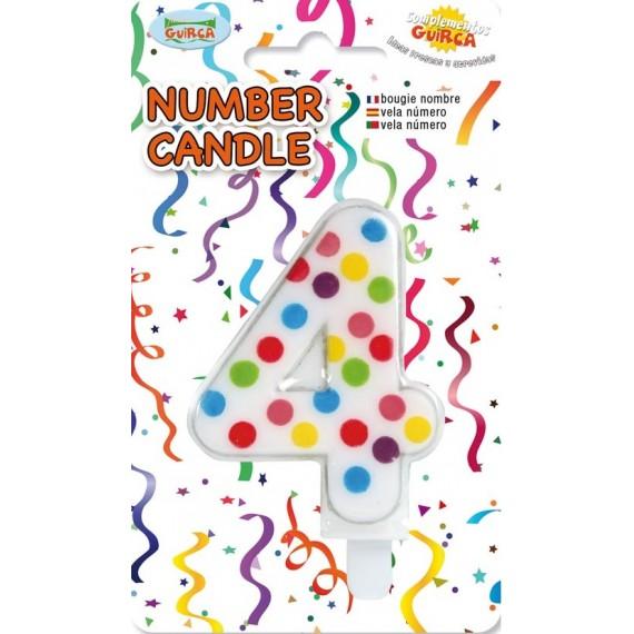 Vela de Cumpleaños de Número 4 de 6,5 Centímetros de color Blanco con Lunares