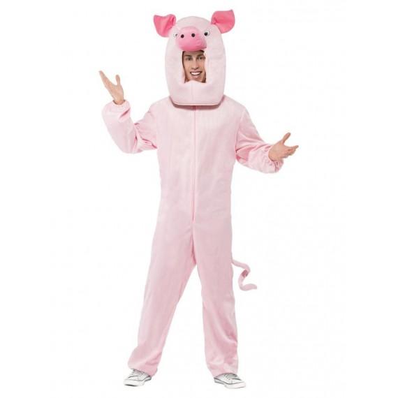 Disfraz de Cerdo de color Rosa para Adulto
