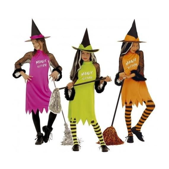 Disfraz de Bruja Varios Colores Infantil