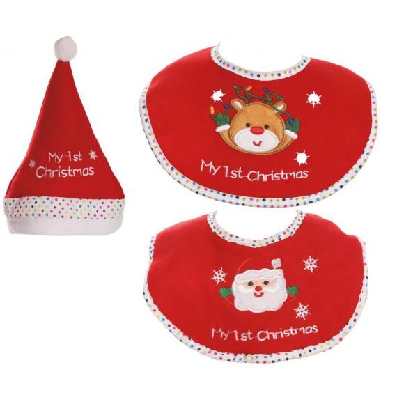 Set de Gorro y Babero de Papá Noel para Bebé