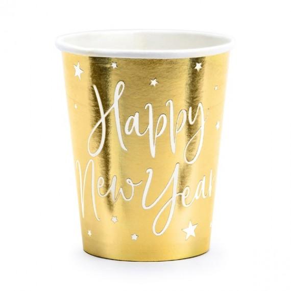 Vaso de Happy New Year 6 Unidades de 220 Mililitros de color Oro