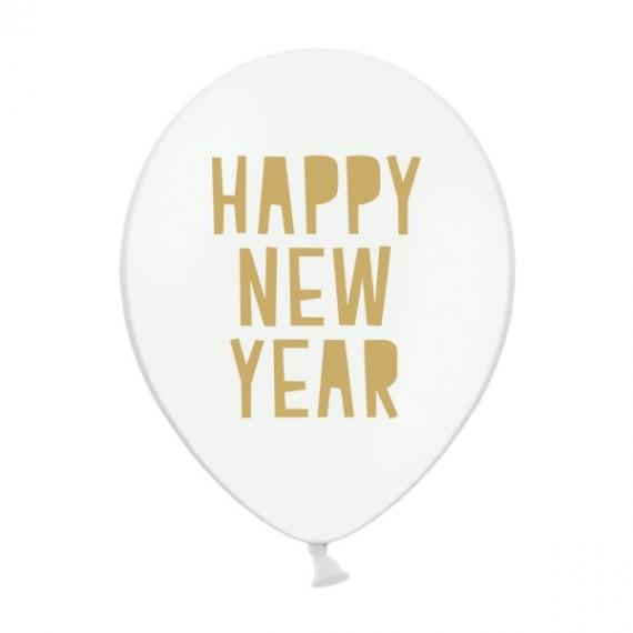 Globo de Happy New Year 50 Unidades de 30 Centímetros de color Blanco Pastel