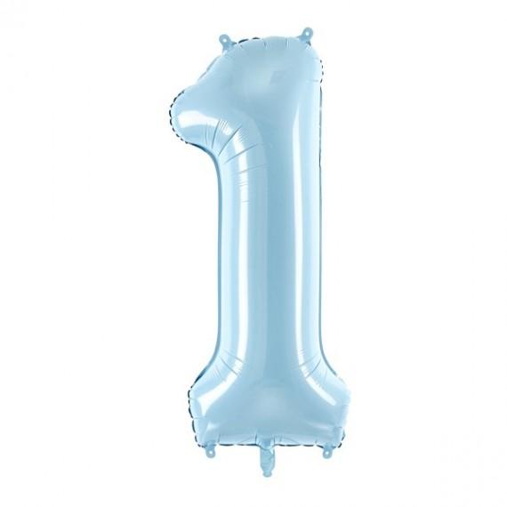 .Globo de Número 1 de 86 Centímetros de color Azul Claro