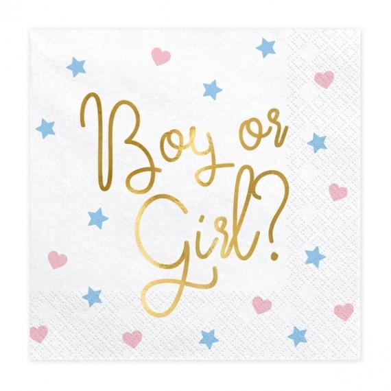 Servilleta de Boy or Girl? 20 Unidades de 33 x 33 Centímetros