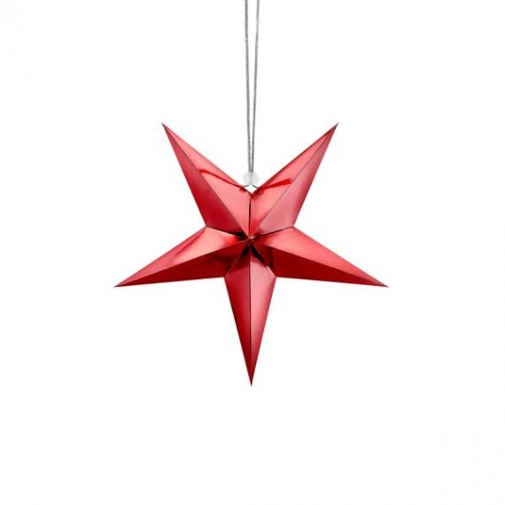 .Estrella de Papel de 30 Centímetros de color Rojo para Colgar