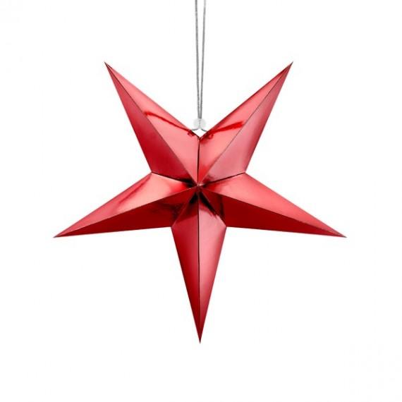 Estrella de Papel de 45 Centímetros de color Rojo para Colgar
