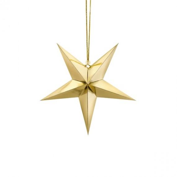 .Estrella de Papel de 30 Centímetros de color Oro para Colgar