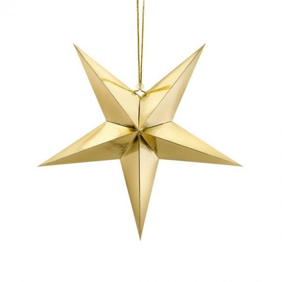 .Estrella de Papel de 45 Centímetros de color Oro para Colgar