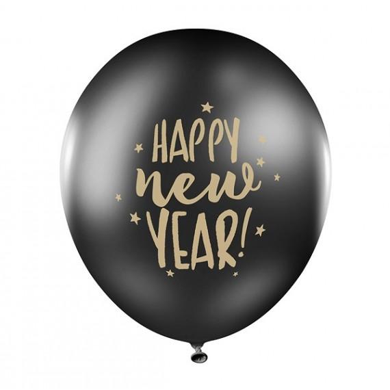 Globo de Happy New Year 6 Unidades de 30 Centímetros de color Negro Pastel