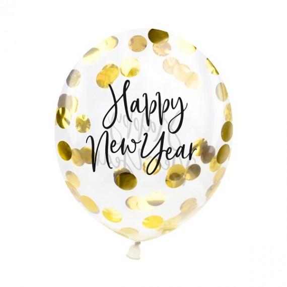 Globo de Happy New Year 3 Unidades de 30 Centímetros con Confeti Dorado