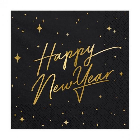 Servilleta de Happy New Year 20 Unidades de 33 x 33 Centímetros de color Negro