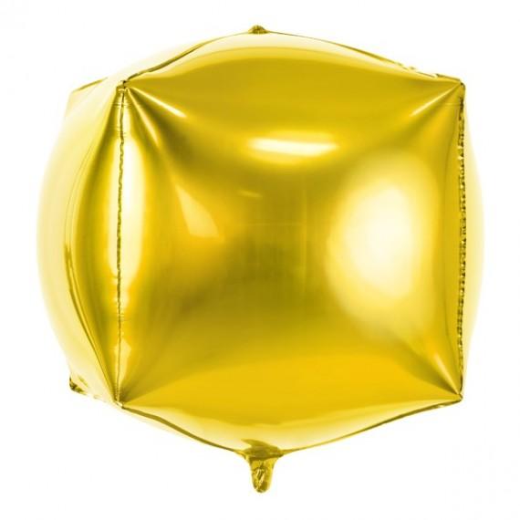 .Globo de Cubo de 35 x 35 x 35 Centímetros de color Oro