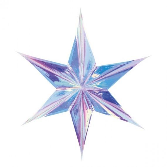 .Estrella de Papel de 40 Centímetros de color Iridiscente para Colgar