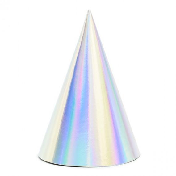'Sombrero de Fiesta 6 Unidades de 16 Centímetros de color Iridiscente