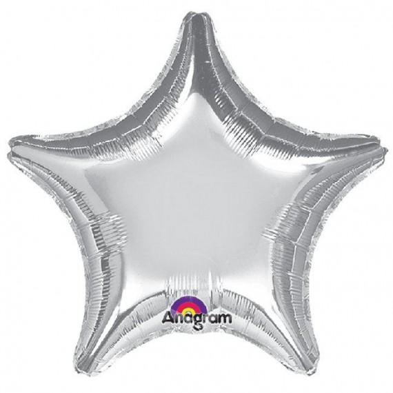 .Globo de Estrella de 81 Centímetros de color Plata Metalizado