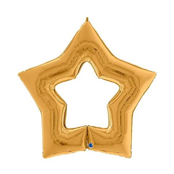 .Globo de Estrella figura abierta de 120 Centímetros de color Oro