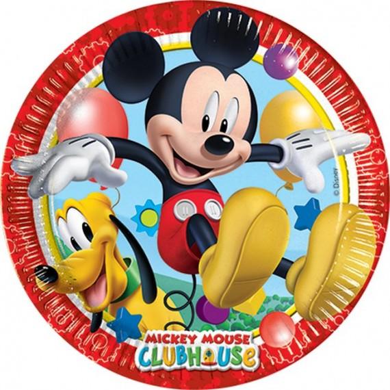 Plato de Mickey 8 Unidades de 20 Centímetros