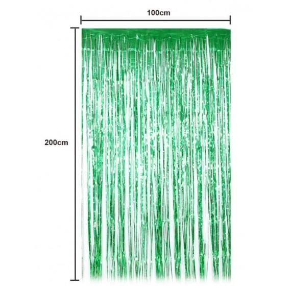 .Cortina de Flecos de 100 x 200 Centímetros de color Verde Metalizado