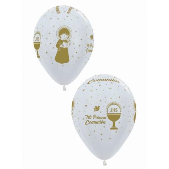 'Globo de Mi Primera Comunión Oro 12 Globos de 30 Centímetros de color Perla