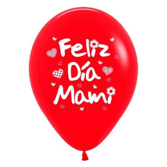 'Globo de Feliz Día Mami 12 Unidades de 30 Centímetros de color Rojo