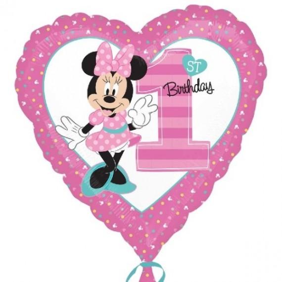 Globo de 1st Birthday Minnie Mouse de 45 Centímetr