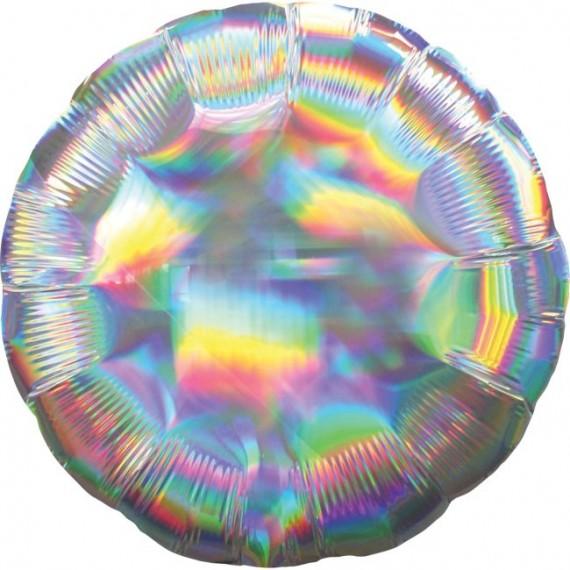 .Globo Foil de Circulo Iridiscente de 45 Centímetros de color Plata