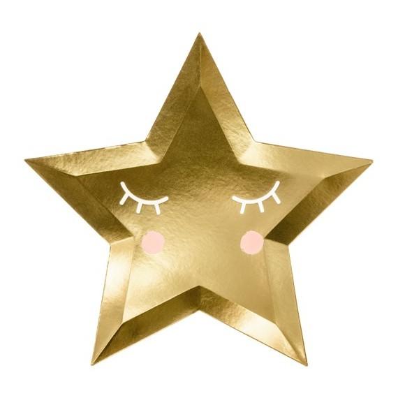 Plato de Little Star 6 Unidades de 27 Centímetros de color Oro
