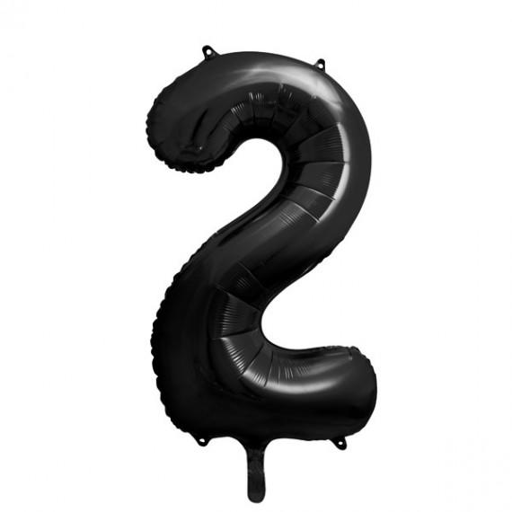 .Globo de Número 2 de 86 Centímetros de color Negro