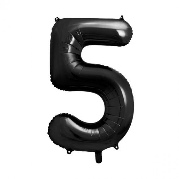 .Globo de Número 5 de 86 Centímetros de color Negro