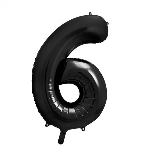 .Globo de Número 6 de 86 Centímetros de color Negro