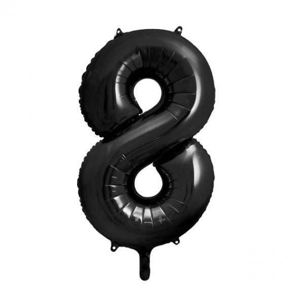 .Globo de Número 8 de 86 Centímetros de color Negro