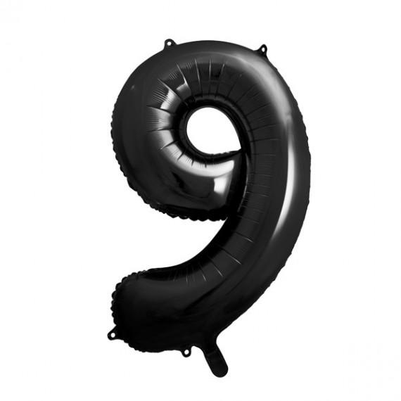 .Globo de Número 9 de 86 Centímetros de color Negro