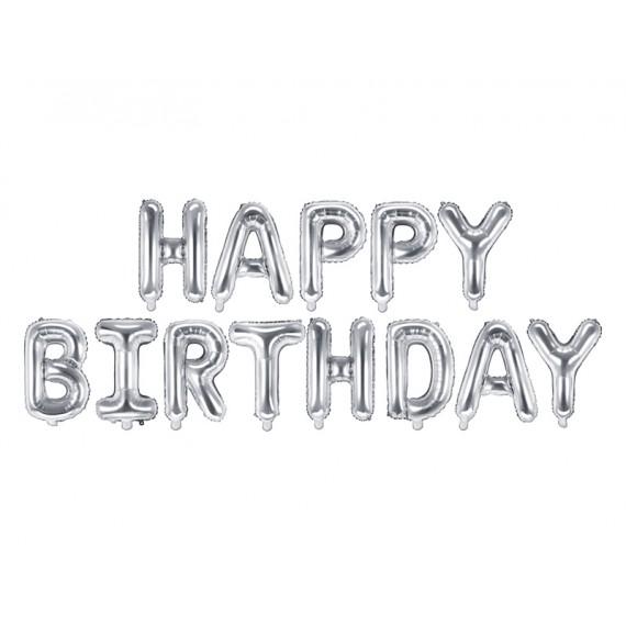 .Globo de Happy Birthday de 340 x 35 Centímetros de color Plata