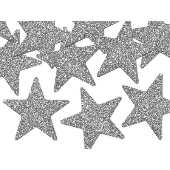 .Confeti de Estrella 8 Unidades de 5 Centímetros de color Plata