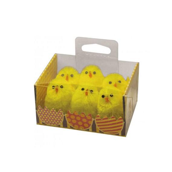 Pack de 6 Pollitos de color Amarillo de 3,5 Centímetros