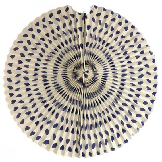 .Abanico de Papel de 45 Centímetros de color Blanco con Lunares Azules para Colgar