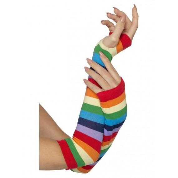 Guantes de Rayas sin Dedos Multicolor para Adulto