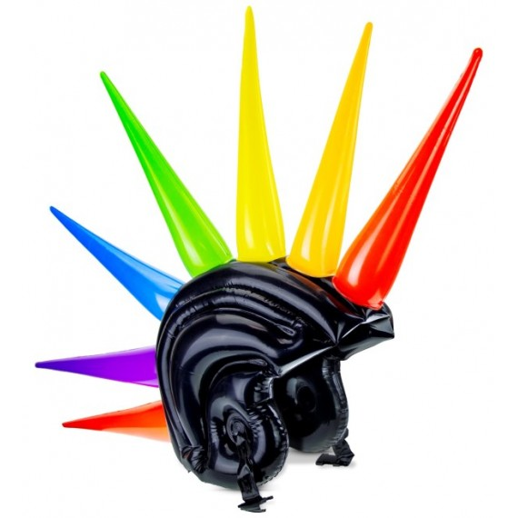 Casco Hinchable de color Negro con Puntas Multicolor de 90 Centímetros