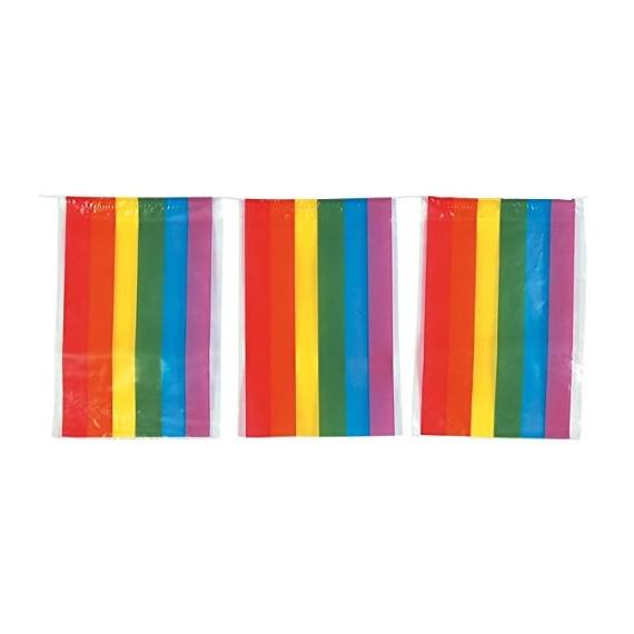 .Guirnalda de Bandera LGTB de Plástico de 20 x 30 Centímetros 50 Metros