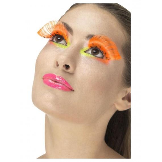 Pestañas de los años 80s de color Naranja Neón con Lunares para Adulto