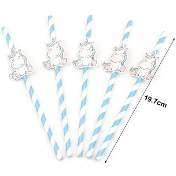 Pajita de Papel de Unicornio 10 Unidades de 19,7 Centímetros