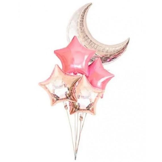 .Globo de Luna y Estrellas 5 Unidades