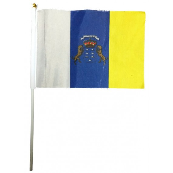 Bandera de Canarias de 20 x 14 Centímetros con Palo