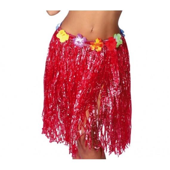 Falda Hawaiana de color Rojo de 55 Centímetros para Adulto