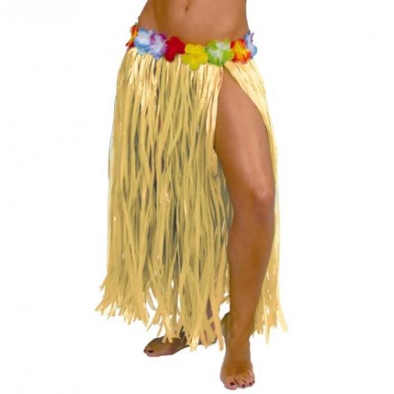 Falda Hawaiana de color Paja de 75 Centímetros para Adulto